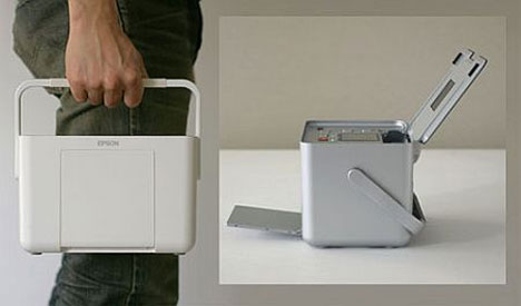 Portable printer with carrying handle