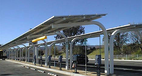 Google car park filled with solar trees