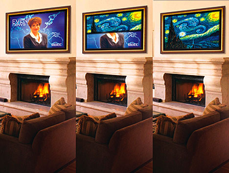 Flat panel tv transforms into artwork ubergizmo for Hide tv in living room