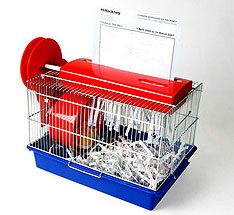 Hamster-powered paper shredder