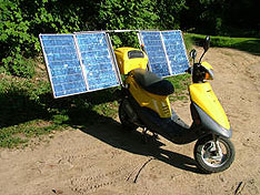 Solar powered scooter loves the sun