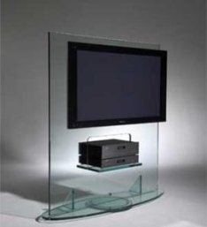 Glass stand for TV looks magical