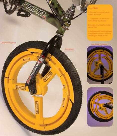 Collapsible Bike Wheel Deters Thieves