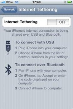 iPhone USB Tethering