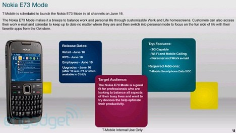 Nokia E73 aka Mode could arrive on T-Mobile USA from June onwards