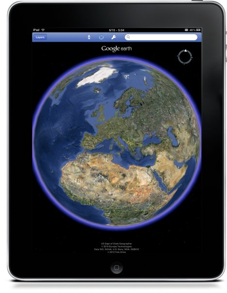 Google Earth offre le support natif sur l'iPad