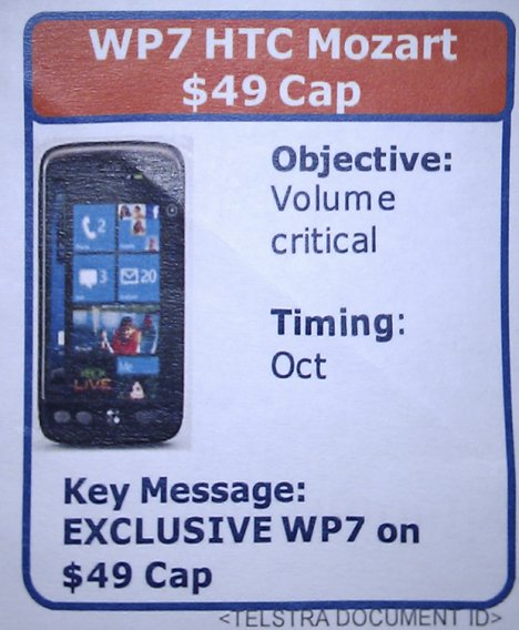 La fuite de Telstra confirme un appareil Windows Phone 7 en Octobre?
