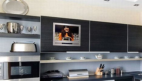 Luxurite TV offers built-in TV in kitchen cabinet