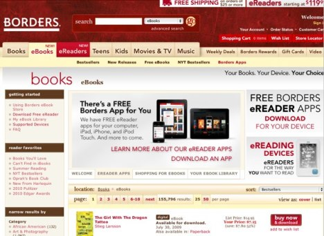 Borders lance son propre eBook Store