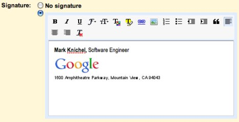Gmail Now Offers Rich Text Signatures