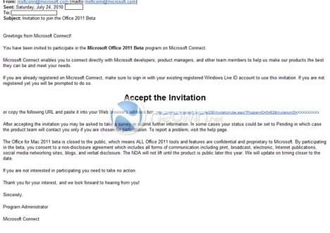 Invitations For Office 2011 Beta For Mac Sent Out