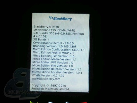 Ecran about du BlackBerry 9570